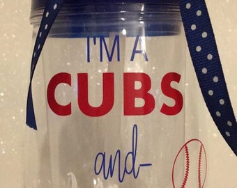 Cubs or blackhawks wine travel tumbler