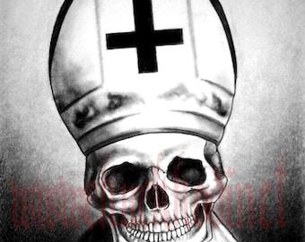 """Print 8x10""""  - Pope - Dark Art Horror Skull Skeleton Spooky Bones Cross Gothic Halloween Macabre Haunted Ghosts Nun Monster Creature Pop"""