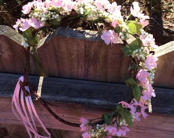Pink flower girl BOHO headband / flower girl / pink / BOHO / wedding / bridesmaids / girls