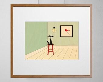 Cat Likes Bird Art Print | Wood Wall Art | Birch Wood |  A3  | Free Shipping Worldwide