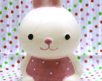 SALE - Vintage Ceramic Rabbit Bunny Figurine Piggy Coin Bank with Pink Apron from Japan 60s