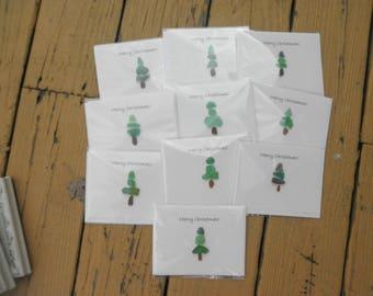 Christmas Tree Cards Lake Erie Beach Glass set of 10