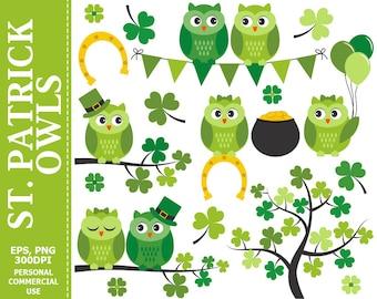 St Patrick Owls Clip Art - Owls, Spring, Irish, Branch, Pot of Gold, Shamrock Clip Art,