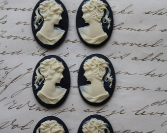 6 unset lady cameos - Ivory on black - 25x18mm - 3 pair