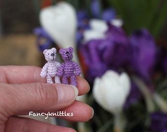 Lilac Crochet Teddy Bear Dollhouse Miniature Toy 1 inch Doll, Tiny Crochet Art Micro Miniature Fancy Amigurumi for 1/12 Dollhouse Choose One
