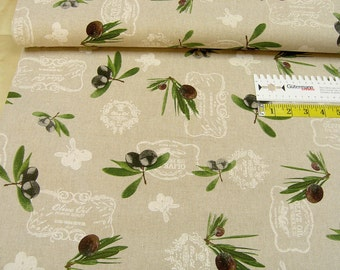 Deco •  olives • on nature • Cotton Fabric 0.54yd (0,5m) 002460