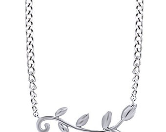Jewel Zone US Olive Leaf Vine Petite Dainty Sterling Silver Pendant Necklace With Chain