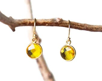 Citrine Earrings - November Birthstone - Gemstone Earrings - Citrine Jewelry - Boho Earrings - Yellow Earrings - Drop Earrings - Healing