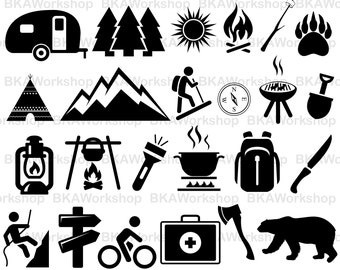 Camping svg - Camping vector - Camping silhouette - Camping digital clipart for Design or more, files download svg, png, dxf
