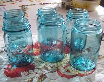 Original Vintage Aqua Blue Ball Jars, Pint, Sold in Pairs, 1910-33 Crafts, Wedding, Upcycle, Reuse