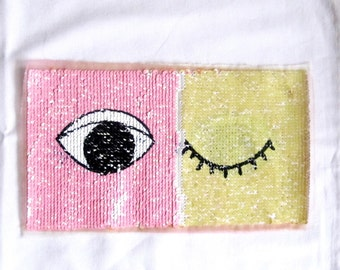 Eye Change Color Patch,Double Sided Applique,Closed Eye Patch, Eye Applique,Pink Yellow Patch, Rectangle Patch,Sequin Appique,Sewing Patch