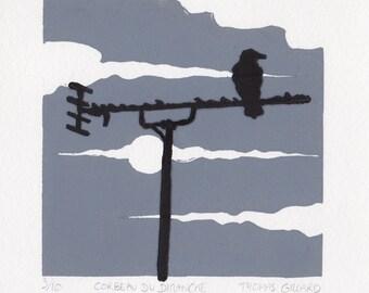 "Linocut ""Sunday raven"", Linoprint, Block print, Crow"
