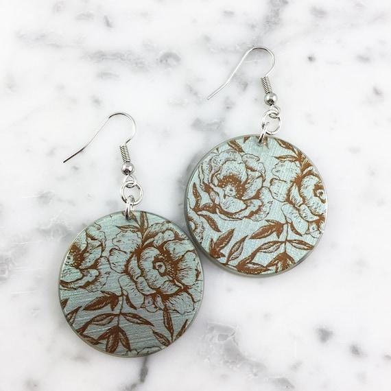 Resin earrings, flower, blue, brown, sold, earring, hypoallergenic hook
