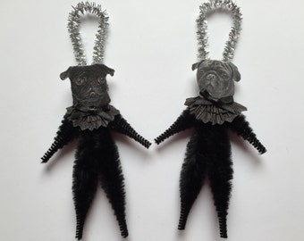 PUG ornaments dog ORNAMENTS vintage style chenille ornaments set of 2