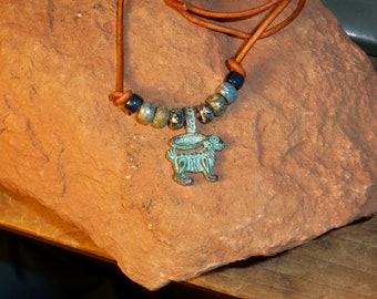Tribal Rabbit Choker On Leather With Beads