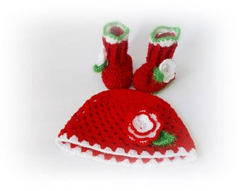 Santa Baby hat booties Christmas baby set Baby boots Red Booties Baby hat Christmas hat Newborn boots Christmas Baby Boots