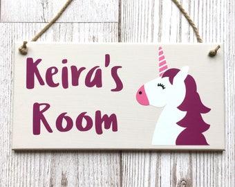 Unicorn Personalised Door Sign ~ Kids Door Hanger ~ Children's Bedroom Plaque ~ Kids Personalised Plaque ~ Kids Name Plaque ~ Kids Room Sign