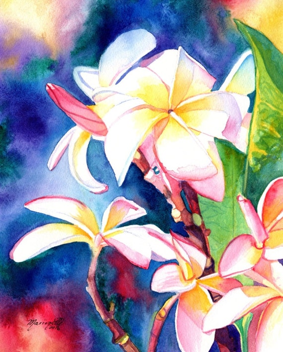 Original Watercolors Plumeria Paintings Tropical Flower