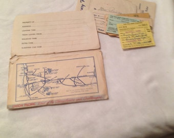 UNION PACIFIC and NORTHWESTERN Stubs and Intinerary 1940s, Time Table 1964