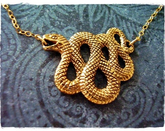 Serpent pendant etsy large gold serpent necklace solid bronze serpent charm on a delicate 14kt gold filled cable mozeypictures Image collections