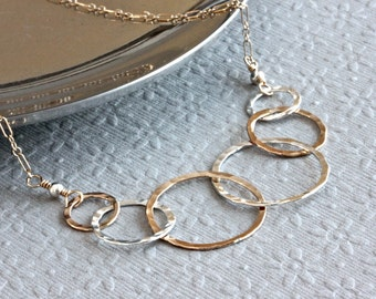 6 Interlocking Circle Necklace, Family Necklace, Gold Filled Jewelry, Ring Necklace, Gold and Silver Necklace, Christian Jewelry for Women