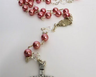 Pink pearl rosary with crystals