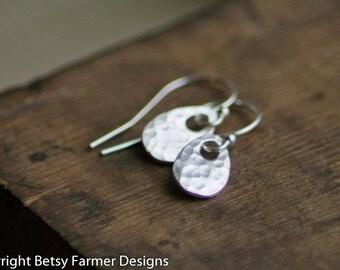 Simple Dainty Teardrop Sterling Silver Earrings - Rustic Hammered Finish