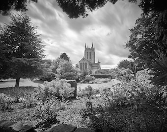 Black and white photograph of Bury St Edmunds Abbey Gardens