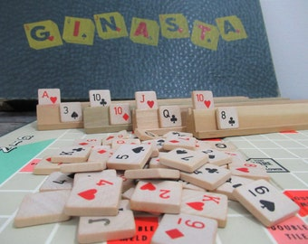 Ginasta, Vintage Card Game, Gin Rummy, Canasta, Party Game, Family Game Night, Wooden Game Tiles