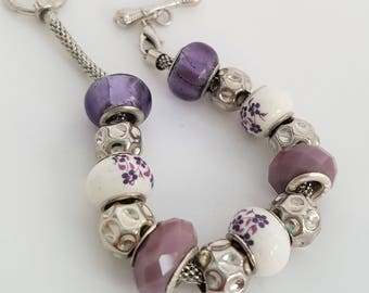 Purple and White Beaded Bracelet with Purple Flowers - Gifts under 20 - Valentine's Birthday Teacher Gift - Gifts for Women - Mother's Day