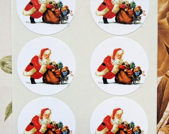 Santa Stickers Vintage Style Santa Envelope Seals Party Favor Treat Bag Stickers CS016
