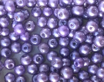 30 round mauve purple pearl beads 4mm glass