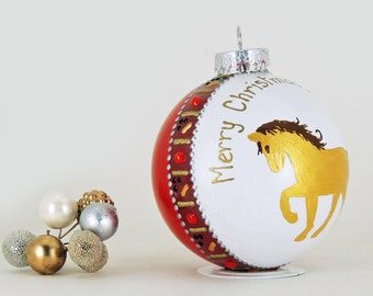 Christmas personalized hand painted glass ornament - golden horse