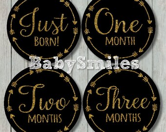 FREE GIFT Monthly Baby Stickers Baby Month Stickers Baby Photo Stickers Monthly Milestone Stickers Tribal Arrows Month Stickers Gold Glitter