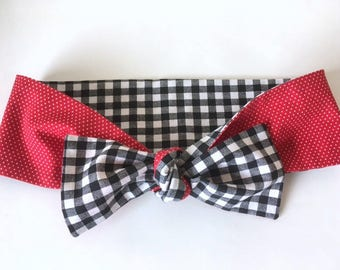 Black and White Gingham and Red Polka Dot Tie on Headband Hair Scarf