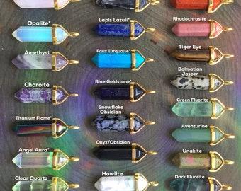 Gold Crystal Gemstone Point Necklace, Genuine Amethyst, Rose Quartz, Obsidian, Clear quartz
