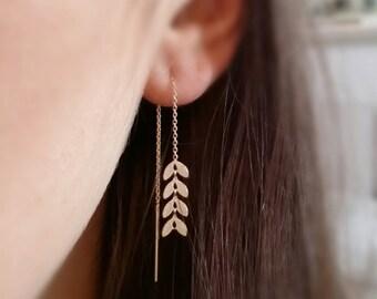 Laurels through Gold 750/000 - earrings, dangling chains, bay leaf earrings gold - gold plated laurel earring
