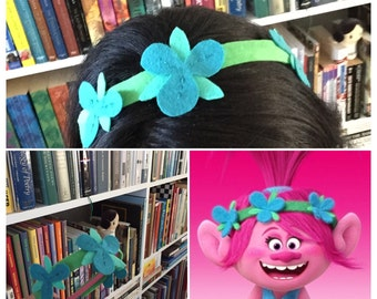 PRINCESS POPPY HEADBAND trolls movie dress up felt headband princess poppy headband flower headband princess poppy tiara felt flowers