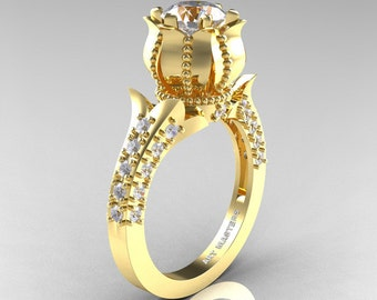 Classic 14K Yellow Gold 1.0 Ct White Sapphire Diamond Solitaire Wedding Ring R410-14KYGDWS