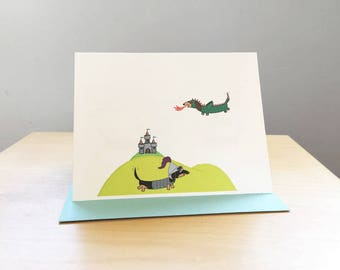 Medieval Dachshunds  Note Cards (set of 10)