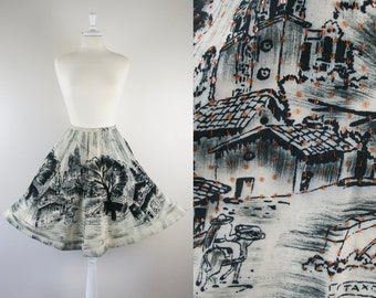 Vintage 1950s Cotton Mexican Circle Skirt / 50s Hand-painted Souvenir Sequin Circle Skirt Sz M