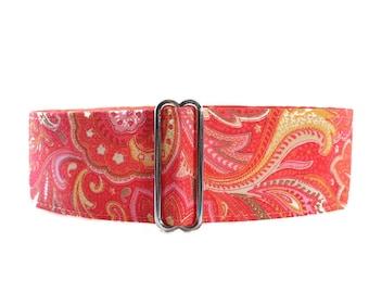 Paisley Martingale Collar, Paisley Dog Collar, Pink Martingale Collar, 1.5 Inch Martingale Collar, Sighthound Collar