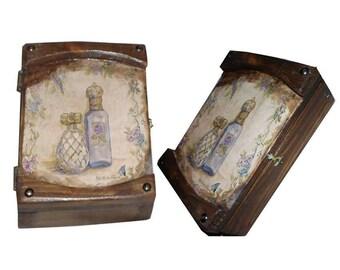 Decoupage wooden box,parfum box,jewwel box