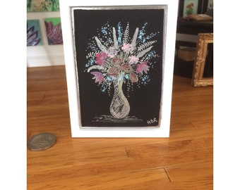 Flower Art  Miniature Painting Original Art mixed Media framed piece of miniature art