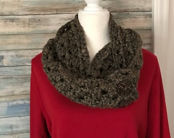Brown and camel colored hand crocheted scarf(FREE SHIPPING)