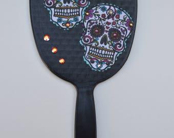 Sugar Skull / Day of the dead handheld mirror , handheld mirror, vanity mirror