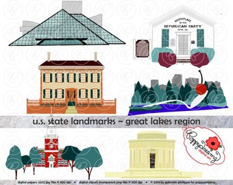 U.S. State Landmarks Great Lakes Region Digital Clip Art: Rock n Roll Hall of Fame Henry Ford Museum Spoonbridge and Cherry Lincoln Home
