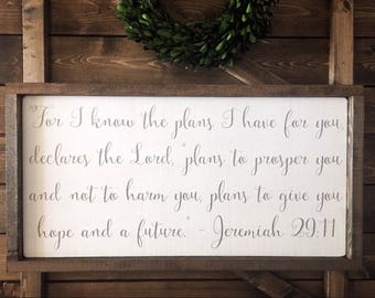 Jeremiah 29:11, Farmhouse Style Signs, Wood Signs, Rustic Wooden Signs, Scripture Signs, Wood Bible Verse Signs, Faith