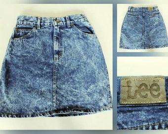 High-Waisted Acid Wash Denim Mini Skirt- XS- Vintage Denim Skirt - Lee Jeans - 24 Waist- Womens Juniors Girls - Vintage Jean Skirt Acid Wash
