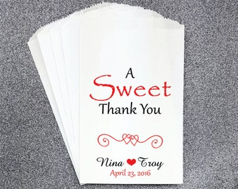 W2, A Sweet Thank You, Wedding Candy Bag, Wedding Candy Buffet, Candy Favor Bags, Treat Bags, Kraft Bags, Personalized bags, Candy Table